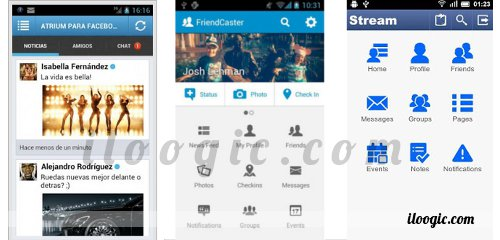aplicaciones alternativas facebook android apk stream atrium friendcaster